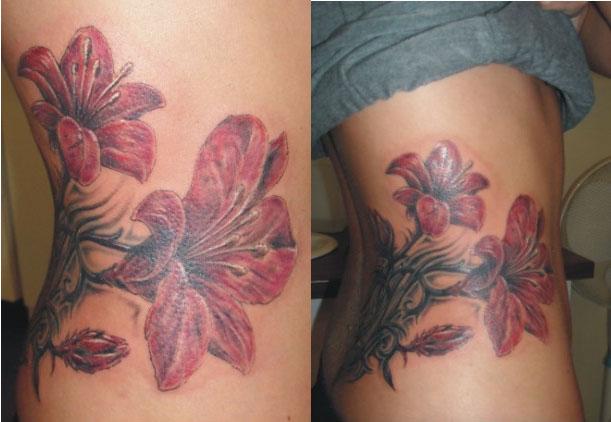 motyw z kwiatem - tatuaż studia Drakkar
