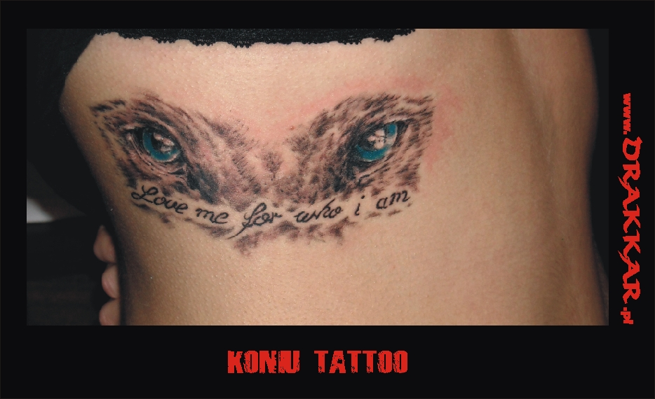 Wilcze oczy - tatuaż studia Drakkar z Katowic