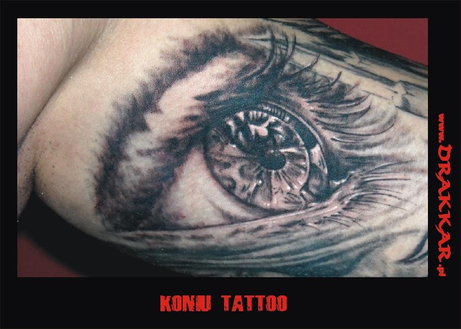 Końskie oko, tatuaż studia Drakkar z Tarnowskich Gór